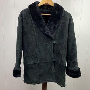 Vintage Marvin Richards Black Genuine Suede Coat w/Faux Fur Lining